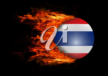 Concept of speed - Flag with a trail of fire - Thailand