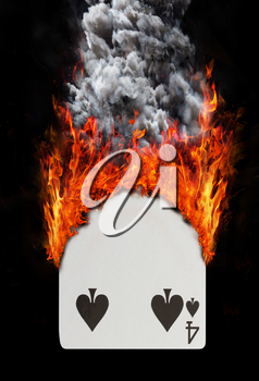 Playing card with fire and smoke, isolated on white - Four of spades