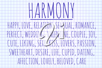 Harmony word cloud written on a piece of paper