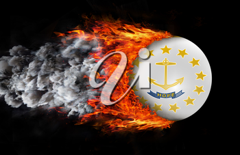 Concept of speed - Flag with a trail of fire and smoke - Rhode Islands