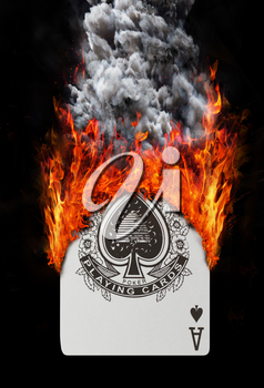 Playing card with fire and smoke, isolated on white - Ace of spades