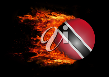 Concept of speed - Flag with a trail of fire - Trinidad and Tobago