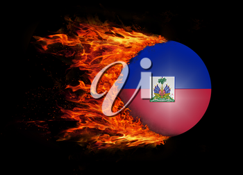 Concept of speed - Flag with a trail of fire - Haiti