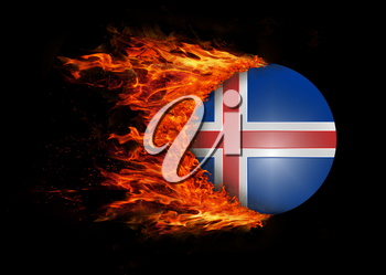Concept of speed - Flag with a trail of fire - Iceland