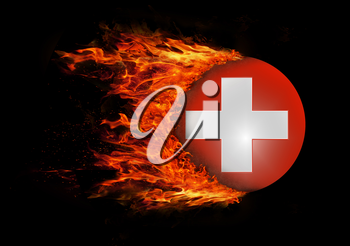 Concept of speed - Flag with a trail of fire - Switzerland