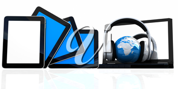 headphones and  earth on the  laptop and tablet pc on a white background