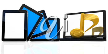 yellow note on the  laptop and  tablet pc on a white background