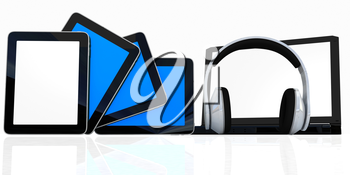 headphones on the  laptop and  tablet pc on a white background