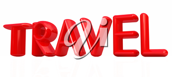 travel 3d red text on a white background