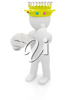 3d people - man, person with a golden crown. King with brain