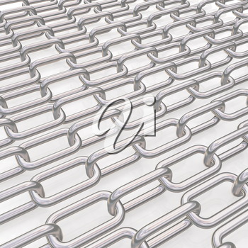 Metal chains on a white background
