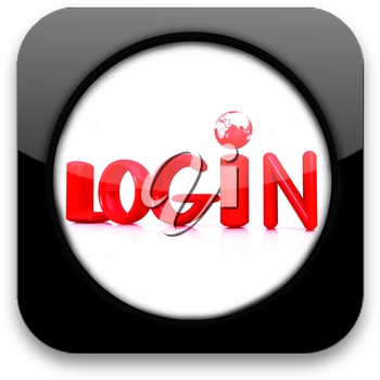 Glossy icon with text login