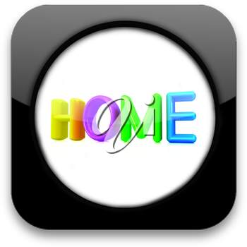 Glossy icon with colorful text home