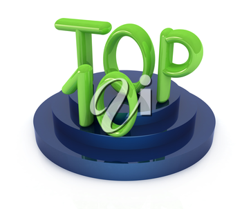 Top ten icon on white background. 3d rendered image