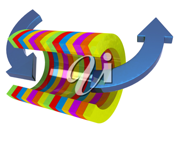 3d colorful abstract cut pipe and arrows on a white background