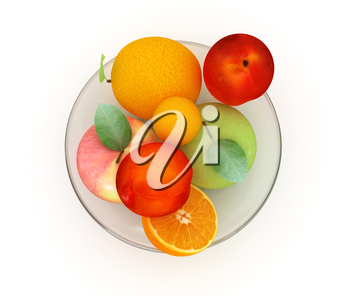 Citrus and apple on a plate on a white background