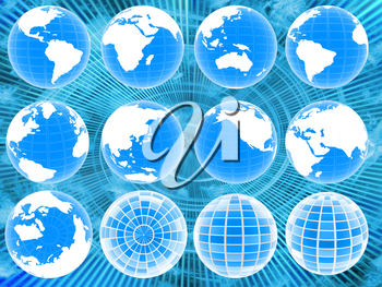 Set of 3d globe icons showing earth with all continents on blue abstract background