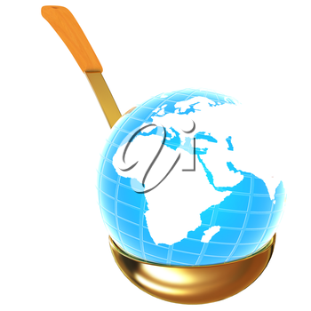 Blue earth on gold soup ladle on a white background