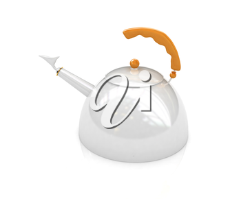 Glossy metall kettle on a white background