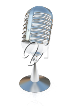 metal microphone on a white background