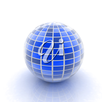 abstract 3d sphere with blue mosaic design on a white background