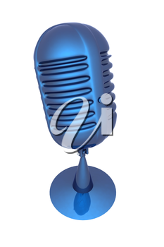 blue metal microphone on a white background