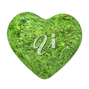3d grass heart isolated on white background