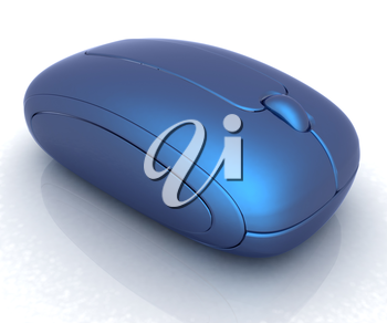Blue metallic computer mouse on white background