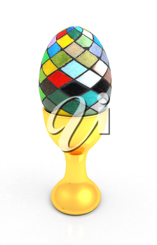 Easter egg on gold egg cups on a white background