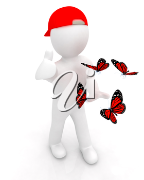 3d man in a red peaked cap with thumb up and butterflies on a white background