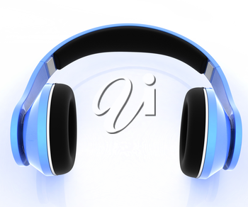 3d illustration of blue headphones on white background. This is the best detail renderer