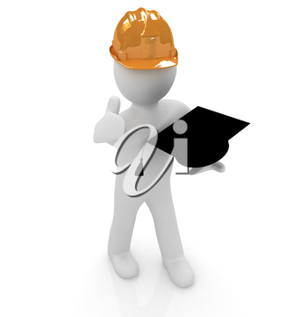 3d man in a hard hat with thumb up presents the best technical education on a white background