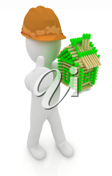 3d architect man in a hard hat with thumb up with log house from matches pattern. 3d image. Isolated on white background.
