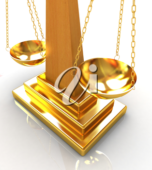 Gold scales on a white background