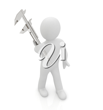 3d man with vernier caliper on a white background