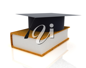 Graduation hat on a leather book on a white background