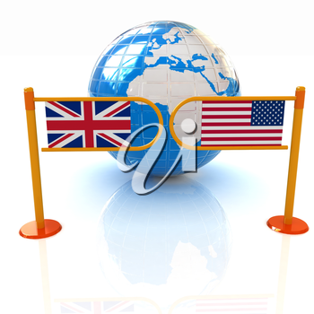 Three-dimensional image of the turnstile and flags of USA and UK on a white background