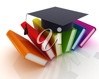 Colorful books and graduation hat on a white background