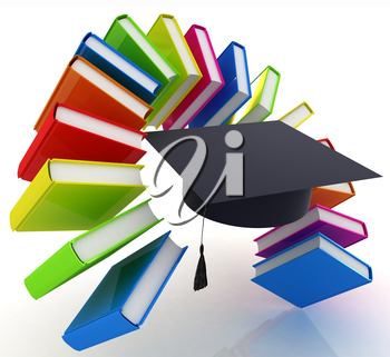 Colorful books like the rainbow and graduation hat on a white background