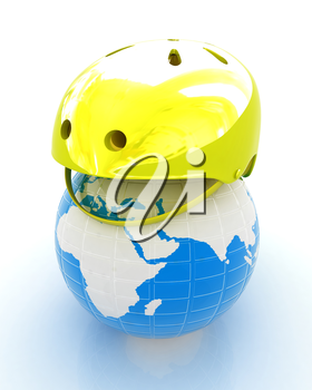 Bicycle helmet on earth. The concept of healthy life and sport on a white background