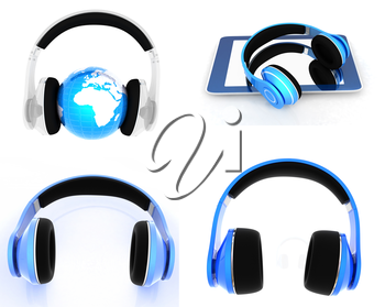Phone and headphones set on a white background