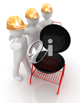 3d mans in a hard hat with thumb up and barbecue grill. On a white background