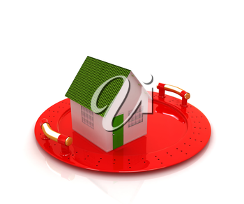 house on restaurant cloche isolated on white background