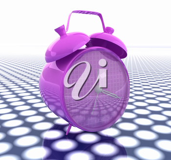 3d illustration of glossy alarm clock. Time concept