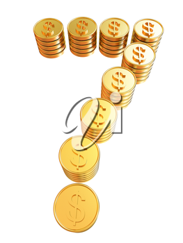 Number seven of gold coins with dollar sign isolated on white background
