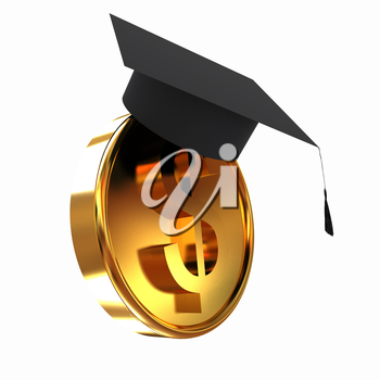 Graduation hat on gold dollar coin
