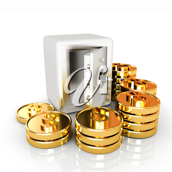 open a bank vault with a bunch of gold coins. isolated on white.