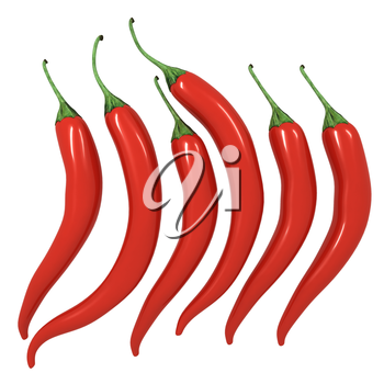 Hot chilli pepper set isolated on white background