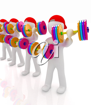 3d mans with colorfull dumbbells on a white background