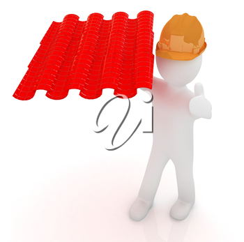 3d man presents the roof tiles on a white background